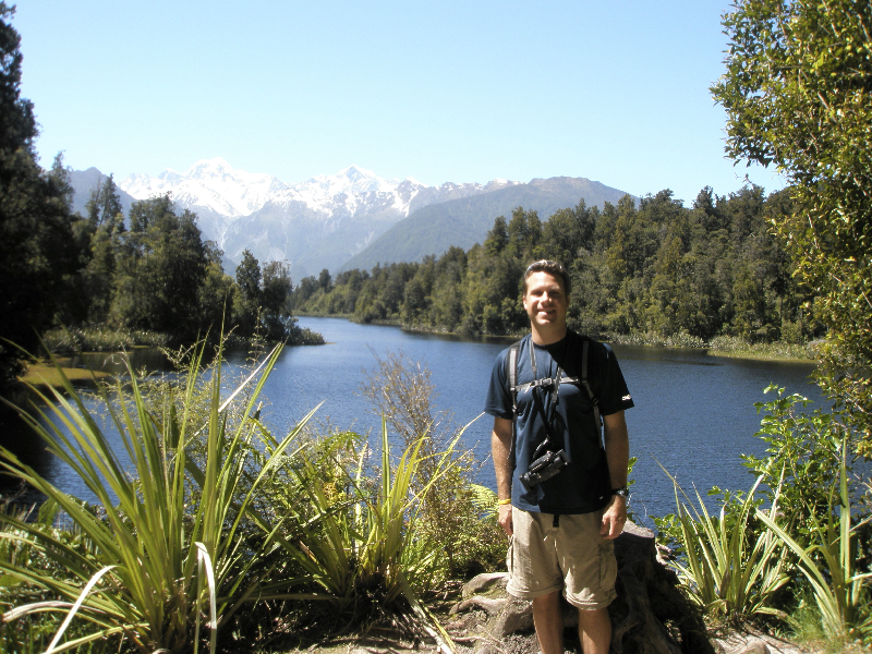 Taking in the scenery at Lake Matheson- New Zealand
