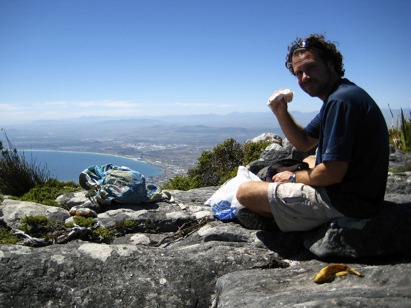 Backpacker\'s Lunch after hiking up Table Mountain- Cape Town, South Africa