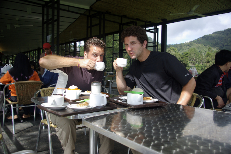 Sipping freshly-picked tea at a plantation in Tanah Rata, Malaysia