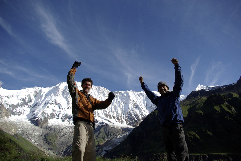 WE MADE IT! Celebrating reaching Annapurna Base Camp- Nepal
