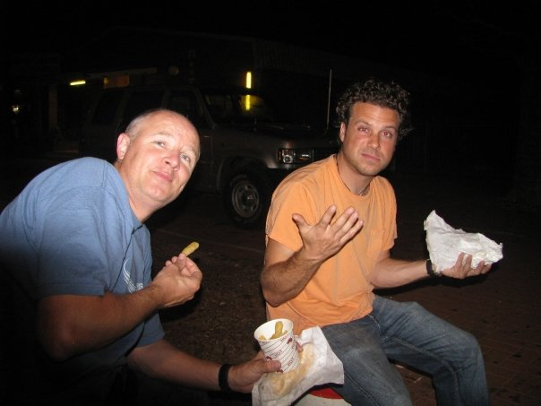 Typical latenight Backpacker fare- kebabs on the street...