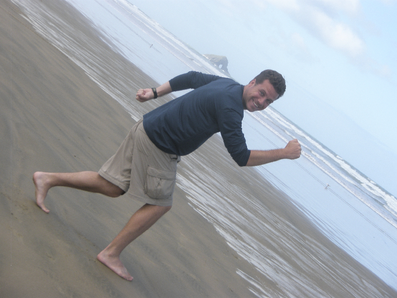 Goofing off on 90-Mile Beach- North Cape, New Zealand
