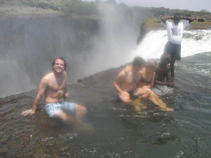 Taking a dip in the Devil\'s Pool- Victoria Falls, Zambia