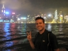 Taking in the crazy light show on Victoria Harbour- Hong Kong, China