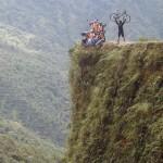backpack, backpacking, budget, adventure, explore, U, university, world, campus, field, note, professor, South, America, Bolivia, La, Paz, Death, Road, Dangerous, Most, cliff, trail, path, bike, mountain, crash, down, valley, edge, ride, helmet